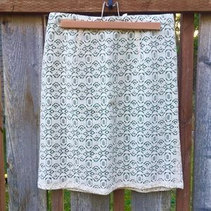 Green and ivory lace skirt